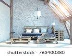 attic living room interior.... | Shutterstock . vector #763400380