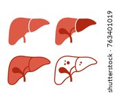 liver icon set on white... | Shutterstock .eps vector #763401019