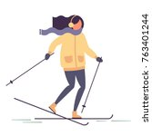 girl on ski resort. winter... | Shutterstock .eps vector #763401244