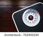 weight scale display on wooden... | Shutterstock . vector #763402234