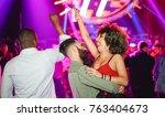 happy friends dancing and... | Shutterstock . vector #763404673