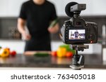 close up of a video camera... | Shutterstock . vector #763405018