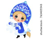 beautiful young girl snow...   Shutterstock .eps vector #763405543