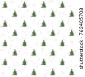 seamless pattern with christmas ... | Shutterstock .eps vector #763405708