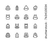 backpack icon set. collection... | Shutterstock .eps vector #763410034