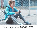 athlete beautiful girl with... | Shutterstock . vector #763411378