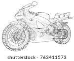 sports bike technical wire... | Shutterstock .eps vector #763411573