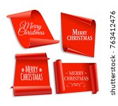 realistic red paper banners set.... | Shutterstock .eps vector #763412476