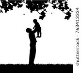 father plays with his child in... | Shutterstock .eps vector #763413334