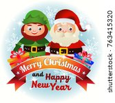 christmas card with elf and... | Shutterstock .eps vector #763415320