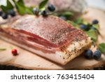 guanciale  an cured meat... | Shutterstock . vector #763415404
