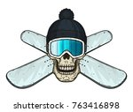skull in ski goggles  hat and... | Shutterstock .eps vector #763416898