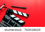 film director's desk. top view... | Shutterstock . vector #763418620