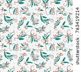 christmas seamless pattern with ... | Shutterstock .eps vector #763419214