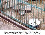 dog shelter. half empty bowls... | Shutterstock . vector #763422259