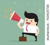 businessman talking into... | Shutterstock .eps vector #763425730