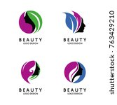 beauty logo design vector... | Shutterstock .eps vector #763429210