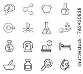 thin line icon set   brain ... | Shutterstock .eps vector #763430818