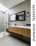 modern grey bathroom with walk... | Shutterstock . vector #763431550