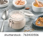 overnight oats in jar and... | Shutterstock . vector #763433506
