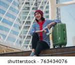 young girl tourist travel in... | Shutterstock . vector #763434076
