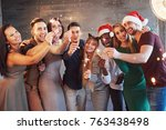 party with friends. group of... | Shutterstock . vector #763438498