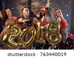 new 2018 year is coming  group... | Shutterstock . vector #763440019