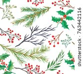 watercolor decorative christmas ... | Shutterstock . vector #763442116