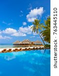 pool and cafe on maldives beach ... | Shutterstock . vector #763445110