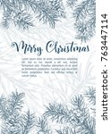 christmas sketch hand drawn... | Shutterstock .eps vector #763447114