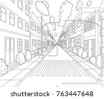 city street with buildings ... | Shutterstock .eps vector #763447648
