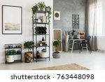 simple painting on white wall... | Shutterstock . vector #763448098