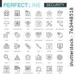 security protection thin line... | Shutterstock . vector #763448518