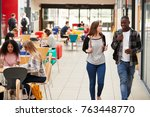 communal area of busy college... | Shutterstock . vector #763448770