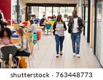 communal area of busy college... | Shutterstock . vector #763448773