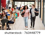 communal area of busy college... | Shutterstock . vector #763448779