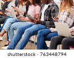 close up of seated college... | Shutterstock . vector #763448794