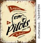 vintage pilots custom bikes... | Shutterstock .eps vector #763449394