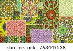 vector patchwork quilt pattern. ...   Shutterstock .eps vector #763449538