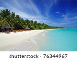 tropical paradise in maldives... | Shutterstock . vector #76344967