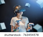 visual reality concept.young... | Shutterstock . vector #763454578
