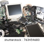 old computer and electronic... | Shutterstock . vector #763454683