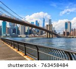 the brooklyn bridge with lower... | Shutterstock . vector #763458484