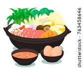 sukiyaki  with pot set | Shutterstock .eps vector #763458646