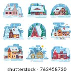 winter country houses and...   Shutterstock .eps vector #763458730