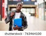 portrait of male student... | Shutterstock . vector #763464100