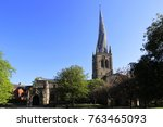 the crooked spire of st mary... | Shutterstock . vector #763465093