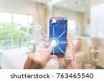 smart home automation app on... | Shutterstock . vector #763465540