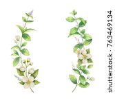watercolor frame of jasmine and ... | Shutterstock . vector #763469134
