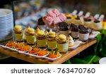 glass shots  pastry. wedding... | Shutterstock . vector #763470760